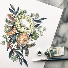 Watercolor Mixing, Watercolor Flowers, Watercolor Art, Flower Prints, Flower Art, Garden Tattoos, Protea Flower, Illustration Blume, Cover Tattoo