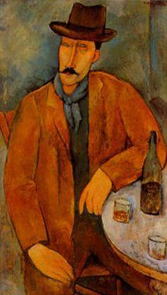 """Amedeo Modigliani - """"Man with a Wine Glass"""