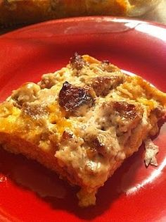 Sausage Breakfast Casserole----I made this last night and put in the oven this morning.  I increased it to 8 eggs and 4.5 cups of cubed bread...I did not do the sauce portion.  Terry and the kids devoured it this morning!