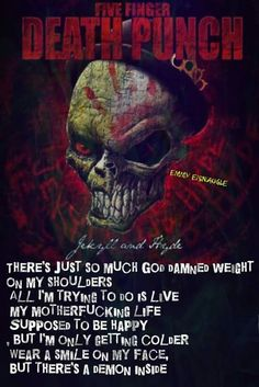 Jekyll and Hyde // Five finger death punch Rock Lyric Quotes, Band Quotes, Music Quotes, Hard Rock, Evanescence Lyrics, Metallica, Negativity Quotes, Ivan Moody, Music Pics