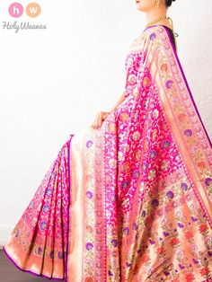 Pink Handwoven Katan Silk Cutwork Brocade Saree