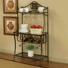 Maxwell Bakers Rack in Antique Bronze with Glass Shelves and Wine and Glass Storage Wine Glass Shelf, Wine Glass Storage, Glass Shelves Kitchen, Glass Rack, Bakers Rack Ikea, Curio Cabinet Ikea, Curio Cabinets, China Cabinet, Built In Wine Rack