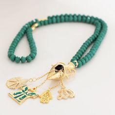 Green Crystal Turkish Islamic 99 Prayer Beads, Tesbih, Tasbih, Misbaha, Worry Beads, Gold Plated Caftan,Clove,Fatimas Hand Charms by Vanilleecom on Etsy