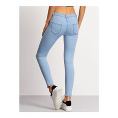 SheIn(sheinside) Light Blue Slim Pockets Denim Pant (£13) ❤ liked on Polyvore featuring jeans, button fly jeans, skinny jeans, skinny fit jeans, stretchy skinny jeans and super stretch skinny jeans