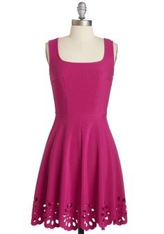 Eyelet Getaway Dress in Fuchsia. Escape into an evening enchanted by this bright fuchsia dress! #pink #modcloth