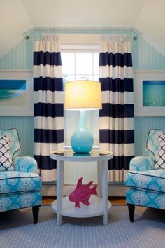 House of Turquoise: Lou Lou's Decor navy and white striped curtains Coastal Living, Coastal Decor, Portsmouth, Rhode Island, House Of Turquoise, Living Spaces, Living Room, Nautical Home, Nautical Nursery