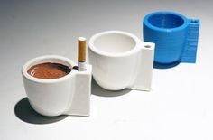 Perfect gift for Lei; Solo e Sola single espresso cups which also has a holder for a single cigarette