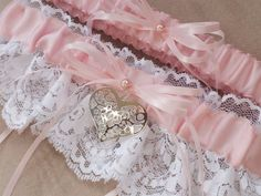 Valentine Garter White Light Pink Heart Accent Bridal Garter Lace Wedding Garter