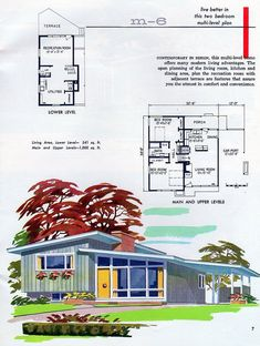 MCM home plan Another cool retro home design Vintage House Plans, Modern House Plans, House Floor Plans, The Plan, How To Plan, Mid Century House, Mid Century Style, Mcm House, Retro Home