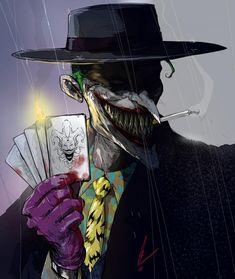 The Joker smoking a cigarette and holding playing hards. Styling a nice hat too. Joker Hat, Joker Dc Comics, Joker Batman, Joker Comic, Joker Images, Joker Pics, The Man Who Laughs, Jokers Wild, Joker Wallpapers