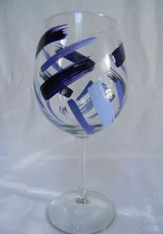 Wine glass with blue stripes by Morningglories1 on Etsy, $18.00