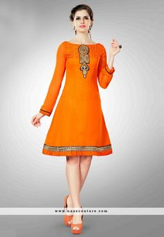 Alluring Georgette Orange Party Wear Kurti