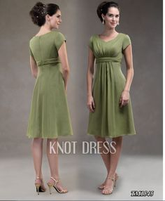 A-line Hotsale Chiffon Dark Green Short Sleeves The Ellen Collection TM 1545 Knee Length Mother Of The Bride Dresses MOBD026