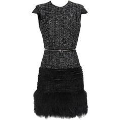 ALEXANDER MCQUEEN Bouclé Tweed Wool Blend Dress with Mink Fur Trim