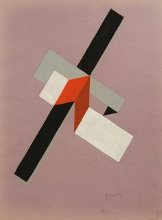 Proun, ca 1922-23 gouache on paper. El lissitzky (1890-1941) was a Russian artist, designer, photographer, typographer, polemicist and architect who designed many exhibitions and propaganda for the Soviet Union in the early 20th century. He was an important figure of the Russian avant garde, helping develop suprematism with his mentor, Kazimir Malevich.