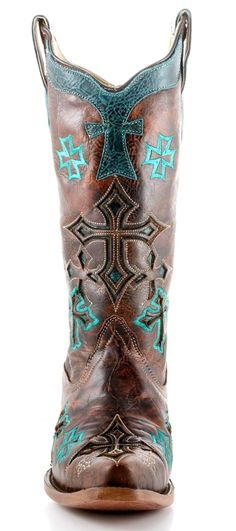 cowgirl boots turquoise cross | ... Cross Boots Whiskey And Turquoise Style R1019 | Corral | Allens Boots