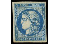 FRANCIA. Yv.46. 1870. 20 cts. azul. Bonito color levemente tonalizado en la parte inferior. Yvert.1.300€.  Dealer SOLER Y LLACH  Auction Sta...