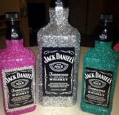 Rhinestone bottle crafts. @Beth J J Lehmann I expect you to do something awesome like this for my birfday ;) LOL!
