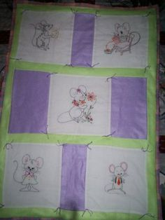 baby quilt handmade hand embroidered 5 panels of mice 34 inches by 24 inches