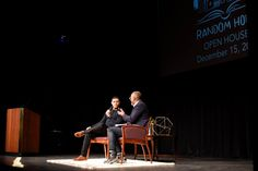 Daily Show host Trevor Noah on stage with his editor Chris Jackson at Open House Winter 2016