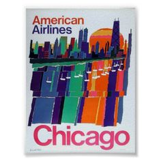 American Airlines Chicago Skyline in Color Poster - decor diy cyo customize home