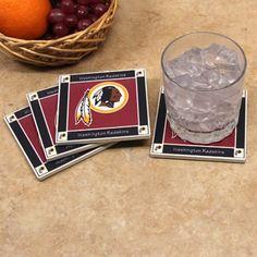 Washington Redskins 4-Pack Square Ceramic Coasters