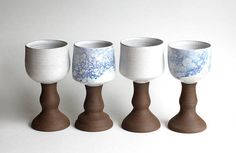***This listing is for one (1) goblet***  These bubble glaze goblets are made on the pottery wheel with a deep brown stoneware clay. Goblets are perfect for wine, and make a great gift for any wine lover! They can be used to serve any drink, or just as a decorative display. Ive been