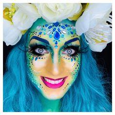 Painted by Sôkkertantes Schmink Ingrid Breugelmans Joker Makeup, Alien Makeup, Unicorn Makeup, Skull Makeup, Mermaid Makeup, Adult Face Painting, Body Painting, Creative Eyeliner, Rave Makeup