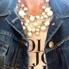 Shop Stella & Dot for jewelry, bags, accessories, and clothing for trendy women. Stella & Dot is unique in that each of our styles are powered by women for women. Shop Stella & Dot online or in stores, or become a independent ambassador and join our team! Pearl Party, Denim And Diamonds, Pearl Statement Necklace, Stella And Dot Jewelry, Vogue, Fall Trends, Autumn Winter Fashion, Fall Fashion, Just In Case