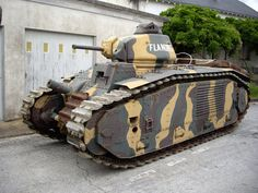 """French Char B1 bis on display at the Musée des Blindés in France. On May 16, 1940, a single Char B1 called """"Eure"""" led by Captain Pierre Billotte engaged and destroyed thirteen German Panzer III and Panzer IV tanks,  despite being hit by its attackers one hundred forty times."""