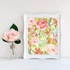 Floral Print Art, Floral Wall Art, Digital Download Art, Wall Prints, Large Wall Art, Printable Art, Trending Now, Shabby Chic Wall Decor