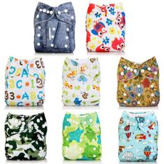 Baby Boy Girl Alva Washable Reusable Cloth Diapers Nappies Pocket In Bunch For 3-15 Kg Re-usable China