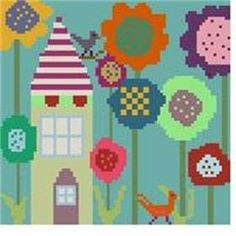 """""""Funky Flowers 1"""" from OMG! Definitely a fun and colorful cross stitch pattern to stitch up."""