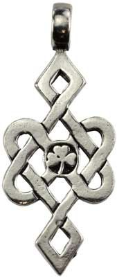 """A tangle of Celtic Knots focused upon a central Shamrock, this powerful amulet is intended to help you with a blessing of luck-everlasting. Has cord. Pewter. 2 1/4"""" x 1"""""""