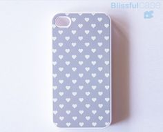 Etsy iPhone 4 case- gray polka hearts
