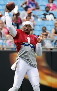 from Panthers Fan Fest Football  Carolina Panthers' Cam Newton (1) fires off a pass during Panthers' Fan Fest NFL football practice in Charlotte, N.C., Saturday Aug. 4, 2012. (AP Photo/Bob Leverone)
