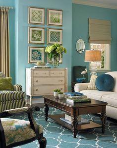 Peacock Green & Ivory Fallon Wool Rug