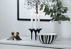 The black enamelled bowls can be used as part of your interior décor to complement the classic Scandinavian design. Interior Decorating, Interior Design, Scandinavian Design, Blue And White, Black, Candle Holders, Stripes, Candles, Ceramics