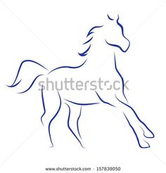 Vector sketch with horse - stock vector Animal Line Drawings, Horse Drawings, Pencil Art Drawings, Horse Stencil, Animal Stencil, Wheat Drawing, Horse Outline, Horse Quilt, Horse Girl Photography