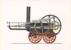 Trevithiks Schwungrad-Lokomotive (1803)  Trevithik baute 1803 diesen Dampfwagen, der erstmalig auf Schienen lief. Bei dem geringen Gewicht dieser Lokomotive reichte jedoch die Reibung nicht aus, um auf Steigungen größere Lasten befördern zu können.