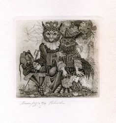 """Mouse over image to zoom  Have one to sell? Sell it yourself  """"Masquarage"""" Cat, Owl, Rat, Ex libris Free Graphic Etching by E. Novikova Russia"""