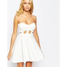 Boohoo White Cutout Strapless Prom Dress ($35) ❤ liked on Polyvore featuring dresses, ivory, cut out prom dresses, fit and flare cocktail dress, strapless cocktail dress, prom dresses and white prom dresses