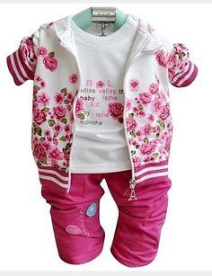 Girl's Three Pieces Sets 2015 Spring Baby Sets Hoody Tshirt Pants Baby Girl Clothing Sets 2640388 2017 – £14.27