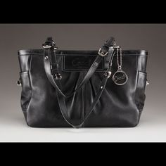CoMinG SoOn Coach Black Leather Pleated Tote Used with love. No major wear but is used. Pretty lilac fabric lining. Charm included. Coach Bags Shoulder Bags