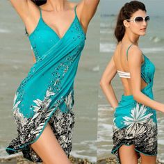 Floral Print Sarong Beachwear Women Cover Up | Daisy Dress for Less | Women's Dresses & Accessories
