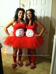 Cool DIY Thing 1 and Thing 2 Adult Women Costumes… Enter the Coolest Halloween Costume Contest at http://ideas.coolest-homemade-costumes.com/submit/