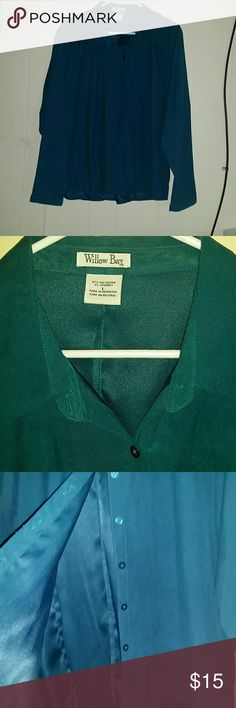 Dress shirt Thicker long sleeve dress shirt.  So soft. Color is teal. Not quite blue and not quite gree. Did I mention soft... so comfy and soft. willow bay Tops Button Down Shirts