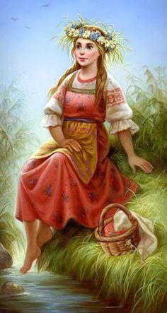 f npc Villager druid lwlvl farmland stream Fantasy Women, Fantasy Art, Ukrainian Art, Indian Art Paintings, Draw On Photos, Painting People, Russian Art, Beautiful Drawings, Summer Art