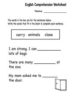 Kindergarten English Comprehension Worksheet, from School Coloring Pages category. Find out more coloring sheets here. 1st Grade Reading Worksheets, English Worksheets For Kindergarten, Literacy Worksheets, Reading Comprehension Worksheets, Free Worksheets, Literacy Activities, Nouns Kindergarten, Kindergarten Reading, Kindergarten Centers
