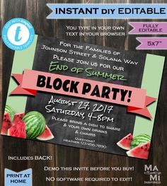 How to Throw a Block Party Printable Invitation Template